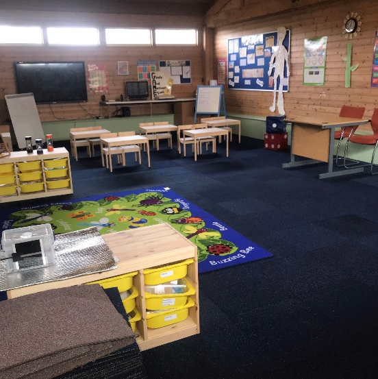 An image of carpet tiles in a classroom.