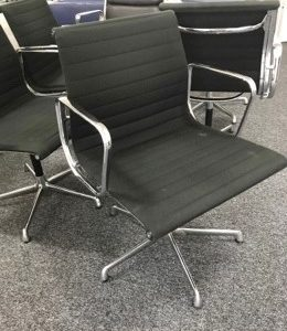 ICF Spa aluminium style meeting chairs upholstered in black fabric chairs