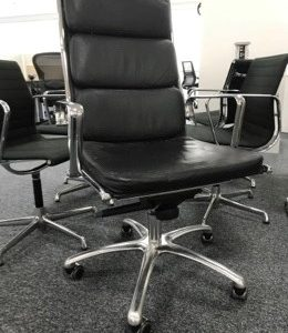 Luxy black leather soft pad style office chair