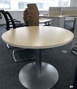 Maple top 950mm dia meeting table on grey pedestals base