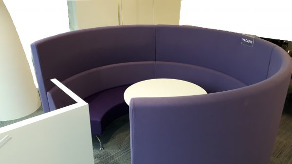 Purple Horseshoe Booth and Table