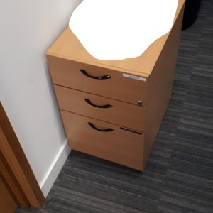 Beech under desk pedestal