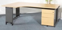 Roneo LH radial desk, 1800 x 1200, Oak top with grey cantilever legs