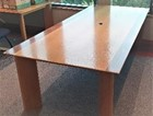 Meeting table, 2595 x 1195, oak veneer top with walnut veneer inlaid along the long edge of top, oak legs