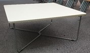 Steelcase B Free coffee table, 750 x 750, White top, silver frame