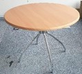 Werzalit dining table, 800 diameter, oak top and chrome legs