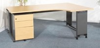 Roneo RH radial desk, 1800 x 1200, Oak top with grey cantilever legs