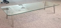 Glass coffee table, 1500 x 600 glass top, Brushed steel legs