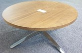 Coffee table, 800 diameter oak top, chrome base