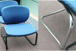 Orangebox Joy meeting chair, light blue fabric seat pad and back, chrome cantilever frame