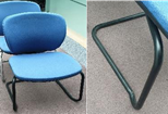 Orangebox Joy meeting chair, light blue fabric seat pad and back, black cantilever frame