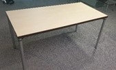 Dietiker Link meeting table, 1500 x 750, Maple top with black edging, silver legs