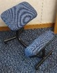 Kneeling stool, blue/grey fabric knee and seat pads, black frame