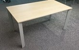Senator Chameleon meeting table, 1400 x 800, Maple top, silver frame